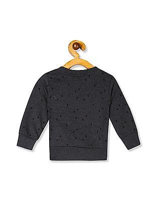 Donuts Grey Girls Crew Neck Printed Sweatshirt