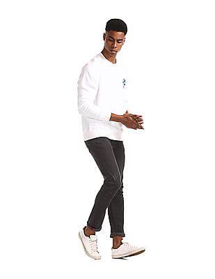 U.S. Polo Assn. White Crew Neck Solid Sweatshirt