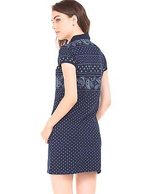 U.S. Polo Assn. Women Bandana Print Pique Polo Dress