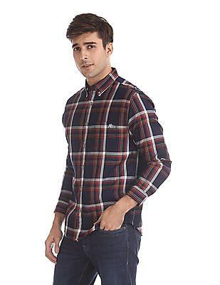 Aeropostale Blue Button Down Collar Check Shirt