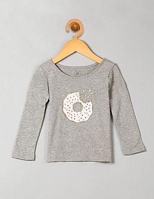 GAP Toddler Girl Grey Glitter Graphic Long Sleeve Tee