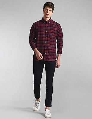 GAP Red Button Down Collar Check Shirt