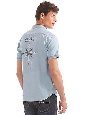 Flying Machine Short Sleeve Chambray Shirt