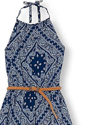 The Children's Place Girls Halter Belted Bandana Print High Low Woven Dress