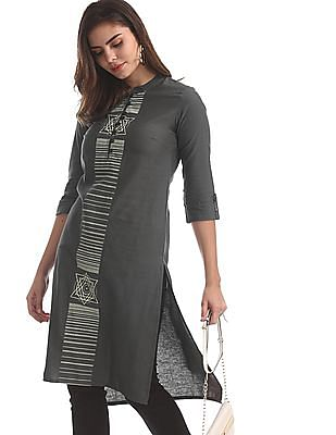 Karigari Grey Printed Panel Woven Kurta