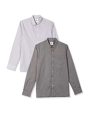 Excalibur Assorted Long Sleeve Striped Shirt - Pack Of 2