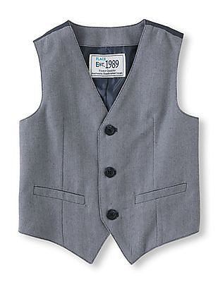 The Children's Place Baby Grey Patterned Weave Waistcoat