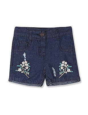 Donuts Blue Girls Upturned Hem Embroidered Shorts