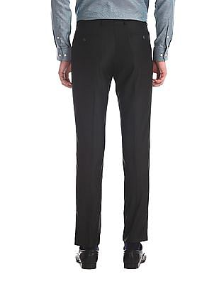 Arrow Newyork Black Flat Front Solid Trousers