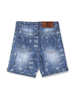 Cherokee Blue Boys Printed Denim Shorts