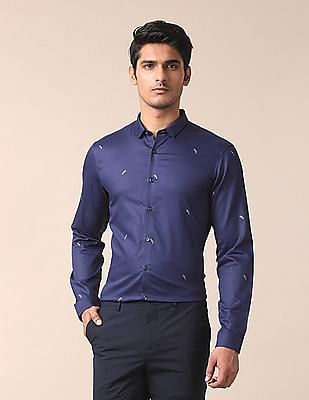 True Blue Slim Fit Embroidered Shirt
