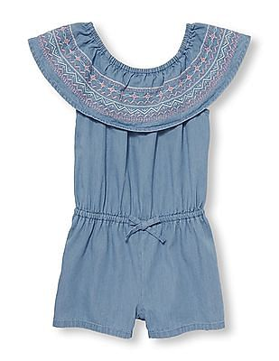 The Children's Place Toddler Girl Sleeveless Embroidered Chambray Romper