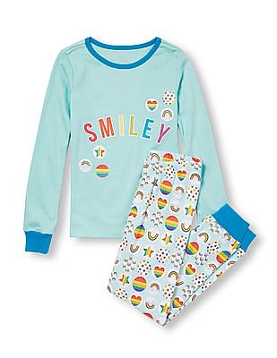 The Children's Place Girls Long Sleeve 'Smiley' Graphic Top And Rainbow Print Pants PJ Set