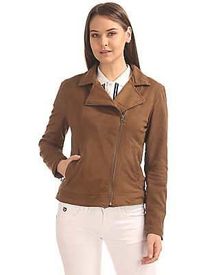 U.S. Polo Assn. Women Notch Lapel Suedette Jacket