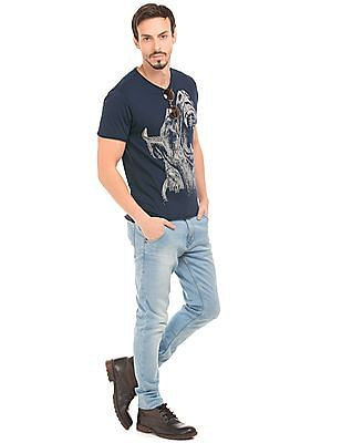 Ed Hardy Dog Face Print Cotton T-Shirt