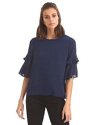 U.S. Polo Assn. Women Regular fit Ruffled Sleeve Top