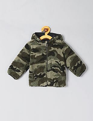 GAP Baby Hooded Camo Sherpa Jacket