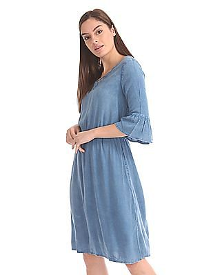 Cherokee Bell Sleeve Fit And Flare Dress