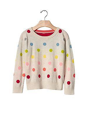 GAP Baby White Rainbow Dots Sweater