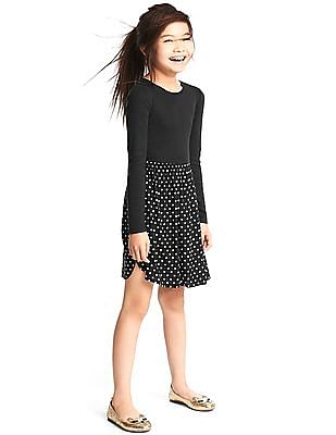 GAP Girls Black Polka Dot Mix-Fabric Dress