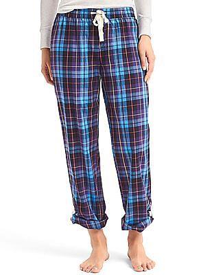 GAP Women Blue Lightweight Flannel Sleep Pants