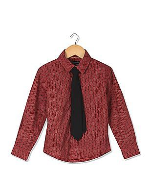 Cherokee Boys Printed Shirt With Tie