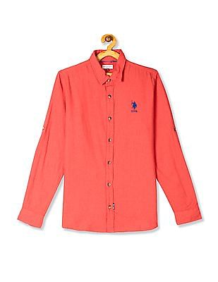 U.S. Polo Assn. Kids Orange Boys Solid Twill Shirt