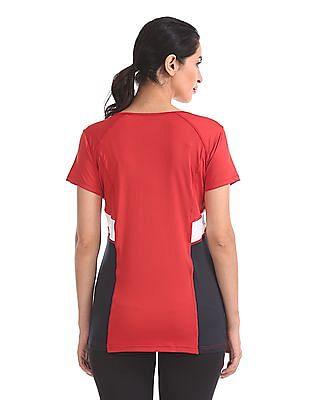 U.S. Polo Assn. Women Colour Block Panel Active T-Shirt