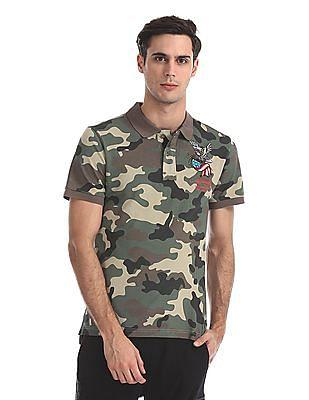 Ed Hardy Slim Fit Camo Print Polo Shirt