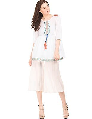 Bronz Drawstring Waist Embroidered Tunic