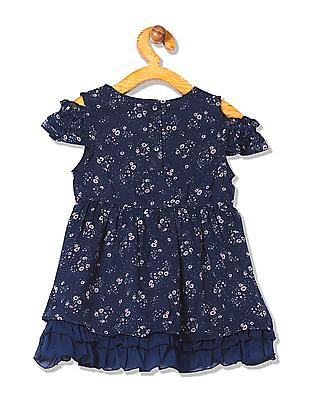 Donuts Girls Floral Print Fir And Flare Dress