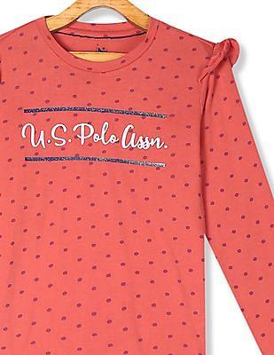 U.S. Polo Assn. Kids Red Girls Polka Print Ruffle Accent T-Shirt