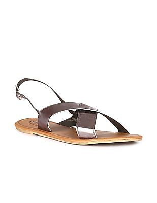 Cherokee Silver Crossover Strap Open Toe Sandals