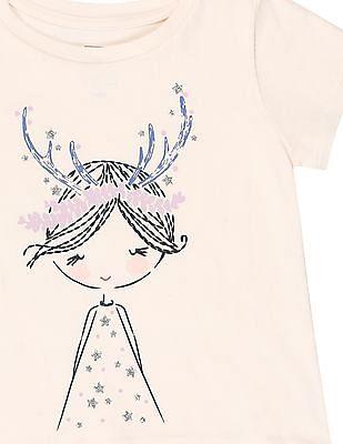 GAP Baby White Printed Front T-Shirt