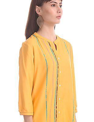 Karigari Yellow Mandarin Collar Striped Kurta