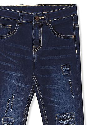 Cherokee Blue Boys Distressed Slim Fit Jeans