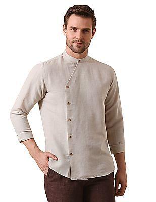 True Blue Slim Fit Angrakha Style Shirt