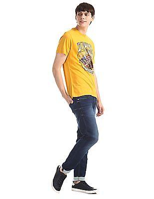 U.S. Polo Assn. Denim Co. Yellow Printed Cotton Jersey T-Shirt