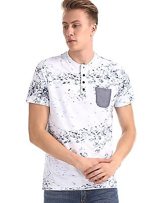 Roots by Ruggers White Printed Short Sleeve Henley T-Shirt