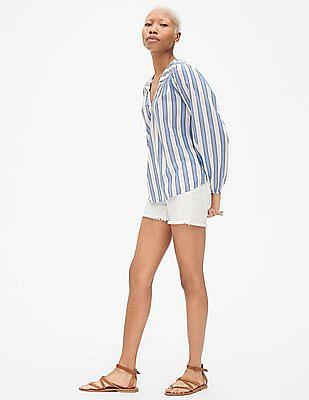 GAP Women Blue Long Sleeve Stripe Split-Neck Top