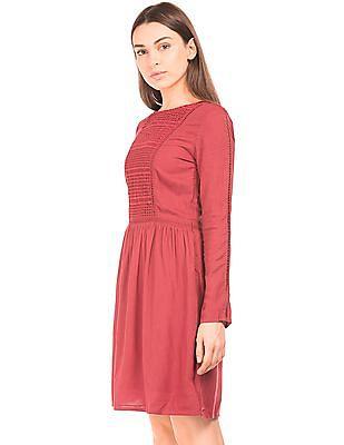 Arrow Woman Long Sleeve Lace Panel Dress