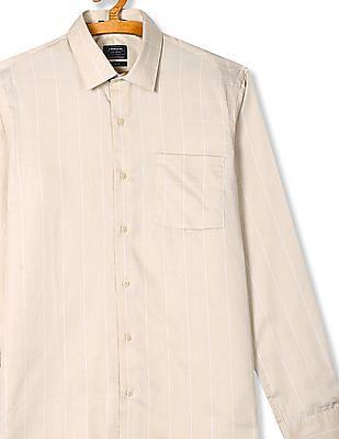 Arrow Beige Slim Fit Check Shirt