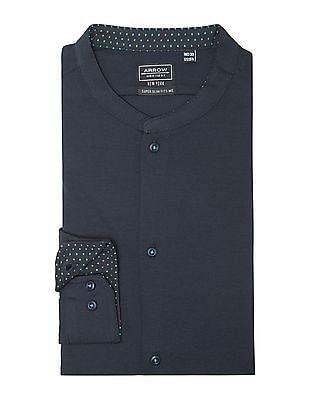 Arrow Newyork Slim Fit Mandarin Collar Knit Shirt