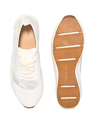 Stride White Knitted Upper Mid Top Sneakers