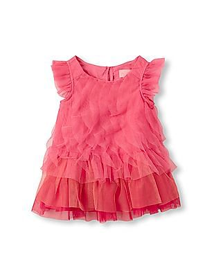 The Children's Place Baby Girls Pink Short Flutter Sleeve Cascade Ruffle Dress And Bloomers Set