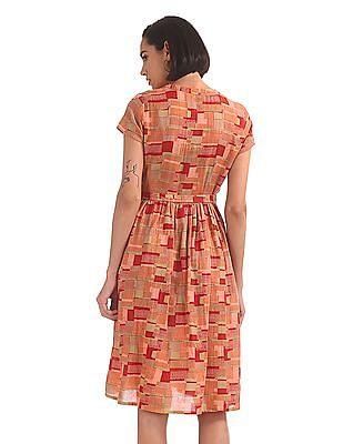 Bronz Printed Midi Dress