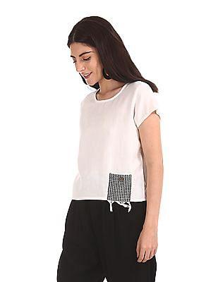 Bronz Patch Pocket Patterned Top