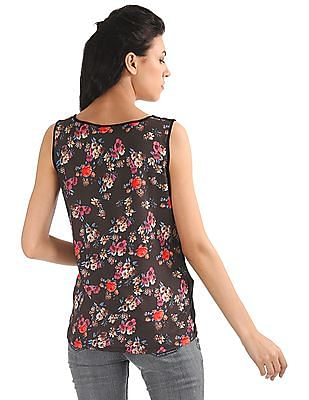 Elle Floral Printed Mixed Fabric Tank