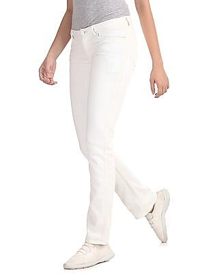 Flying Machine Women White Skinny Fit Bootcut Jeans