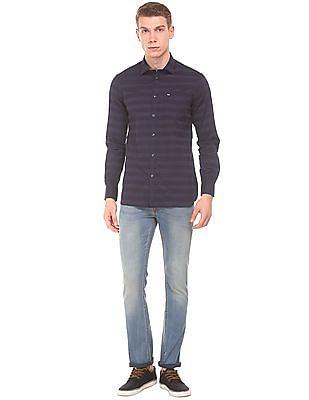 Arrow Sports Tonal Striped Slim Fit Shirt